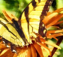 Tiger Swallowtail on Yellow Wildflower Sticker