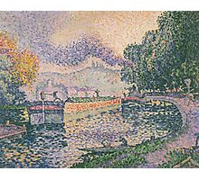 Paul Signac - The Tugboat, Canal in Samois .   Landscape Photographic Print