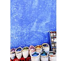 Spices against the Chefchaouen Blue Photographic Print