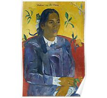 Paul Gauguin - Tahitian Woman with a Flower 1891 Poster
