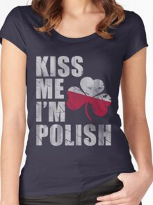 Kiss Me I'm Polish St Patrick's Day Women's Fitted Scoop T-Shirt