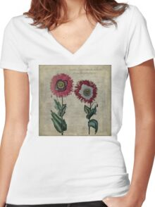 Vintage Poppies  Women's Fitted V-Neck T-Shirt