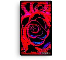 Red Graffiti rose on wall Canvas Print
