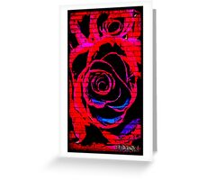 Red Graffiti rose on wall Greeting Card