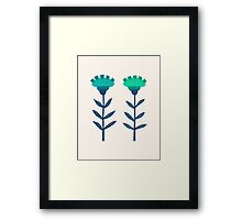 Folk Flowers Botanical - Blue Framed Print