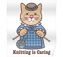 Knitting is Caring, cat woman Poster