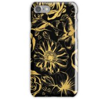 Elegant black background with gold flowers.  iPhone Case/Skin