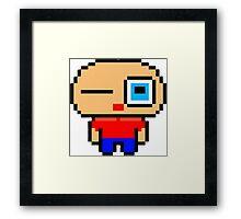 Cute pixel art man Framed Print