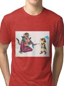 Catfolk Ninja with Ratfolk Swashbuckler Tri-blend T-Shirt