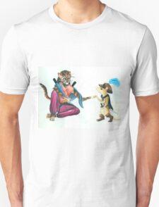 Catfolk Ninja with Ratfolk Swashbuckler Unisex T-Shirt