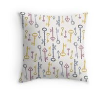 Secret Vintage Watercolour Keys Throw Pillow