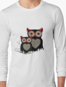 Cute Whimsy Mother And Baby Owls Long Sleeve T-Shirt