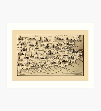 Vintage Map of Guildford Surrey, London, Kent, Oxford, Windsor Art Print