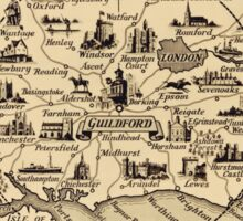 Vintage Map of Guildford Surrey, London, Kent, Oxford, Windsor Sticker