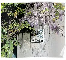 Vintage Welcome Wisteria Floral Poster
