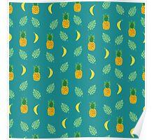 Pineapple Banana in Blue Green Poster