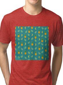 Pineapple Banana in Blue Green Tri-blend T-Shirt