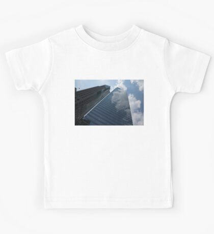 Sky and Sky - Toronto Skyscraper Reflecting Fluffy White Clouds Kids Tee