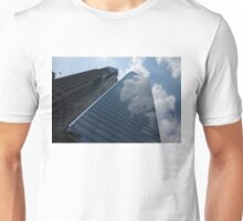 Sky and Sky - Toronto Skyscraper Reflecting Fluffy White Clouds Unisex T-Shirt