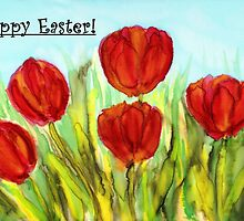 Easter Greetings - Red Tulips by CarolineLembke