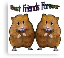 BFFs Forever, Two Cute Hamsters, Original Art, Friendship Canvas Print