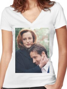 dana scully x files fox mulder Women's Fitted V-Neck T-Shirt