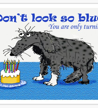 Happy Birthday,sad dog and cake with candles.humor  Sticker