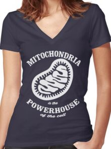 Mitochrondia - you know, it really IS the powerhouse of the cell! Women's Fitted V-Neck T-Shirt