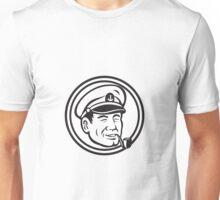 Sea Captain Pipe Smoke Circle Black and White Unisex T-Shirt