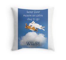 Leap year,rabbits going wild.cartoon, humor  Throw Pillow
