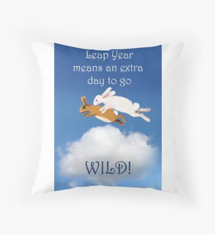 Leap year,rabbits going wild.cartoon, humor  Throw Pillow