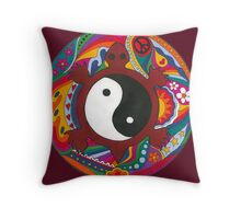 Psychedelic Turtle Yin Yang Throw Pillow