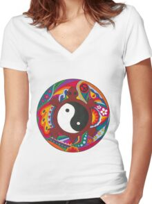 Psychedelic Turtle Yin Yang Women's Fitted V-Neck T-Shirt