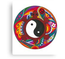 Psychedelic Turtle Yin Yang Canvas Print