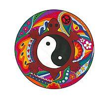 Psychedelic Turtle Yin Yang Photographic Print