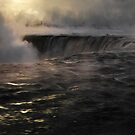 Niagara Falls covered in mist beautiful dramatic winter sunrise scenery art photo print by ArtNudePhotos