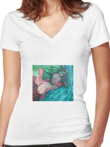 Clouded Women's Fitted V-Neck T-Shirt