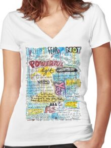 """Marianne Williamson Quote - """"Our deepest fear is not that we are inadequate"""" Women's Fitted V-Neck T-Shirt"""