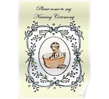 Vintage baby naming, baby in tub, invitation. Poster