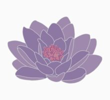 Purple Water Lily One Piece - Short Sleeve