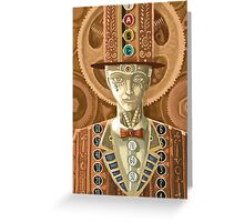 steampunk cash man Greeting Card