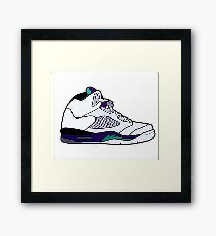 Jordan 5 Retro Grape Shoes Framed Print