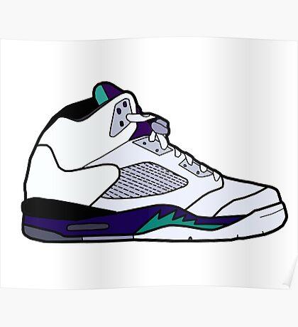 Jordan 5 Retro Grape Shoes Poster