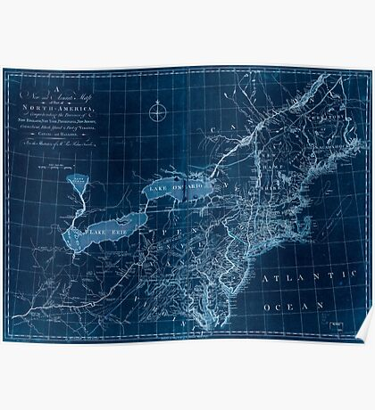 American Revolutionary War Era Maps 1750-1786 146 A new and accurate map of part of North America comprehending the provinces of New England New York Inverted Poster