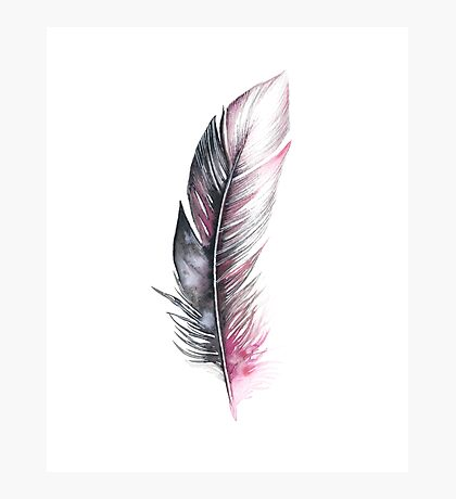 Watercolor Feather Art Photographic Print
