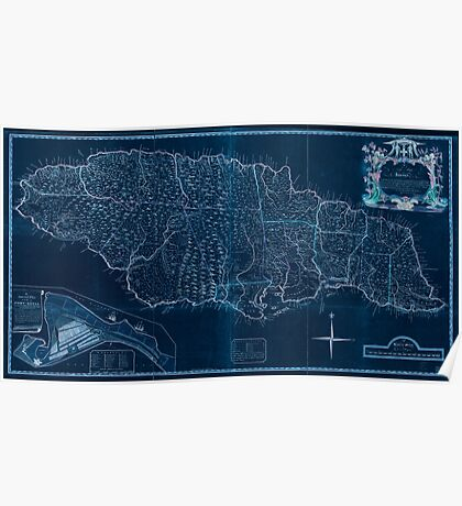 American Revolutionary War Era Maps 1750-1786 169 A new map of Jamaica in which the several towns forts and settlements are accurately laid down as well as ye Inverted Poster