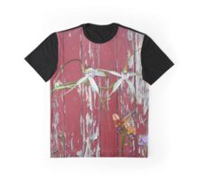 Longicordia Orchid with Red Painted Wall, native orchids of Western Australia. Graphic T-Shirt