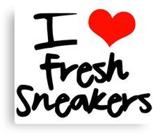 I Love Fresh Sneakers - Black Canvas Print