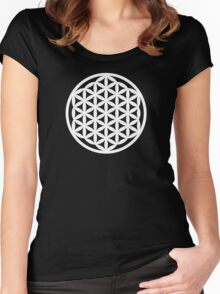 White Flower of Life Women's Fitted Scoop T-Shirt