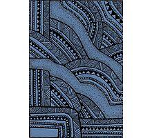 Tribal Zentangle Blue Design  Photographic Print